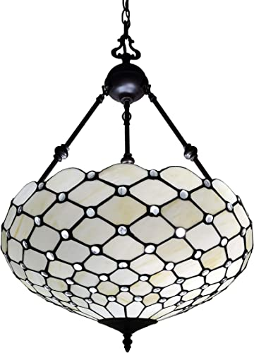 Amora Lighting Tiffany Style Hanging Lamp Jeweled Chandelier 18 Wide Stained Glass White Antique Vintage Light Decor Restaurant Game Living Dining Room Kitchen Gift AM1117HL18B