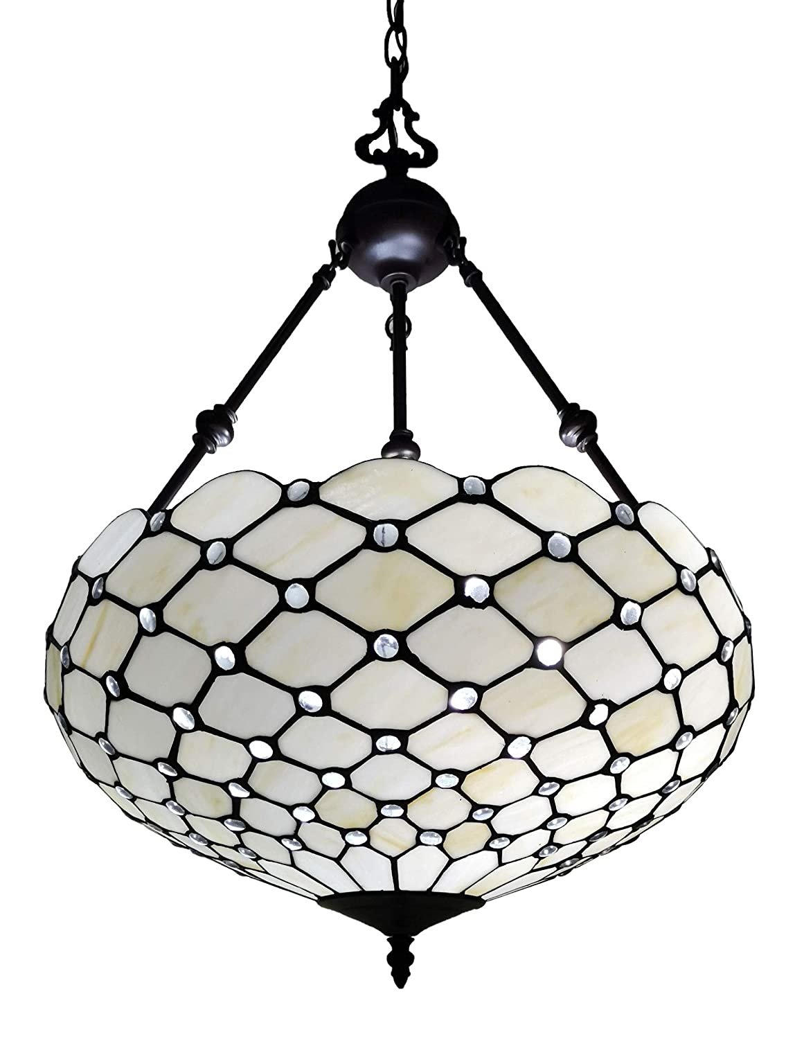 "Amora Lighting Tiffany Style Hanging Lamp Jeweled Chandelier 18"" Wide Stained Glass White Antique Vintage Light Decor Restaurant Game Living Dining Room Kitchen Gift AM1117HL18B"