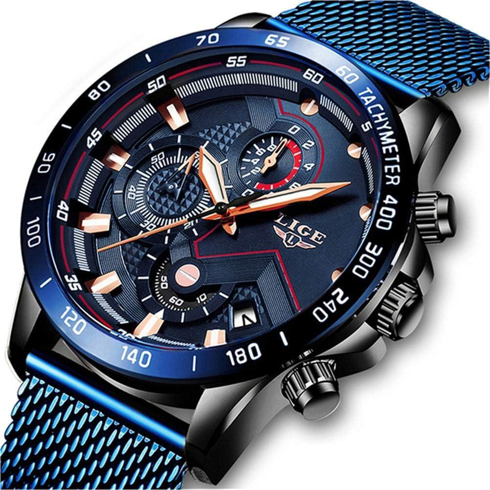 Reloj de Pulsera para Hombre de Acero Inoxidable Correa de Malla Cronógrafo Reloj de Cuarzo Negro para Hombres Fecha Calendario Resistente al Agua Multifunción Reloj de Pulsera