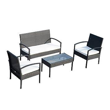 Outsunny Conjunto de Muebles Ratán Jardín Terraza 4 Plazas 4 Plazas 1 Mesa de Café 2 Sillones 1 Banco con Cojín Marco Metal