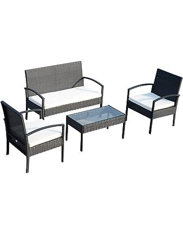 28d1ec485 Outsunny Conjunto de Muebles Ratán Jardín Terraza 4 Plazas 4 Plazas 1 Mesa  de Café 2