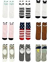 Gellwhu Baby Girls Boys Toddler Socks Cotton Animal Knee High Tube Socks 9 Pairs