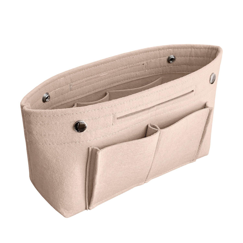APSOONSELL Women's Handbag Tidy Organiser, Lightweight Felt Protective Liner for Speedy Neverfull, Beige - Small