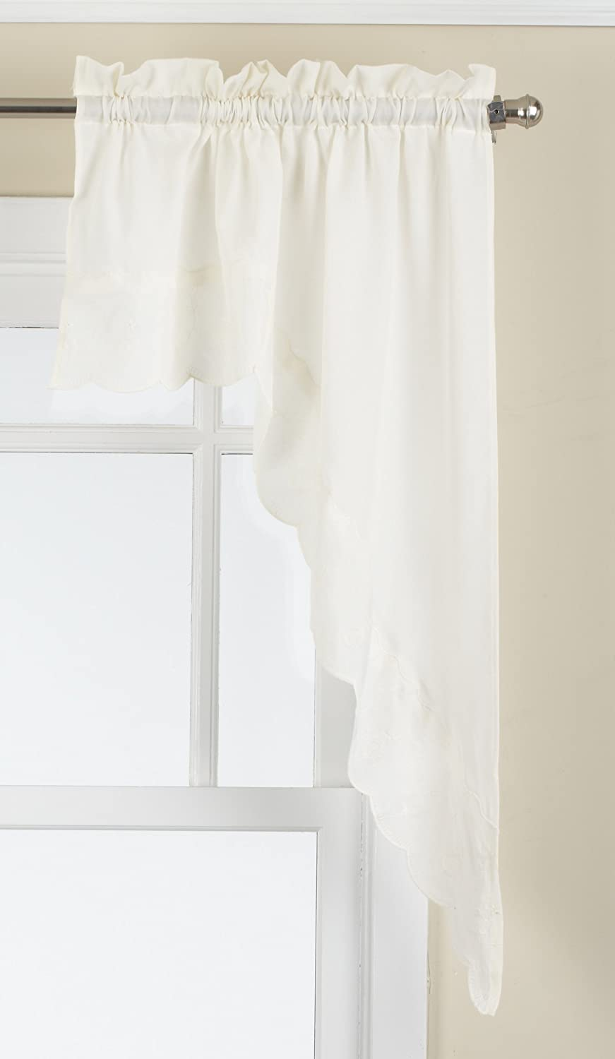 LORRAINE HOME FASHIONS Candlewick Tailored Swag, 60 by 38-Inch, Cream