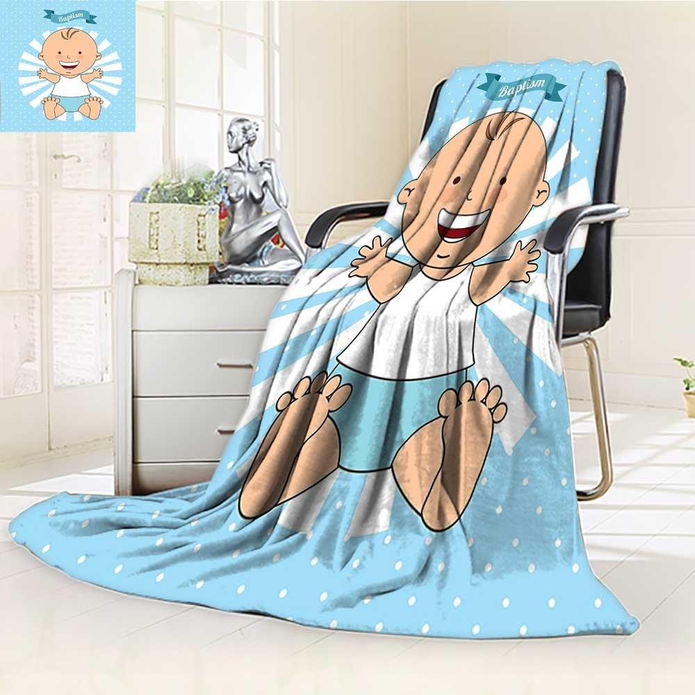 AmaPark Lightweight Blanket Baptism Design Boy Christening Striped Dotted Background Christian Digital Printing Blanket