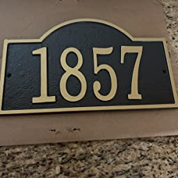 Amazon Com Whitehall Personalized Cast Metal Address Plaque Custom House Number Sign Arched Rectangle 12 X 7 25 Bronze With Gold Numbers Garden Outdoor
