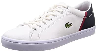 129efcf058665 Lacoste Men s Straightset Sport 118 2 Canvas Lace Up Trainer White  Navy-White-8
