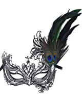 Masquerade Mask Princess Metal Rhinestone Peacock Feathers Party Mask