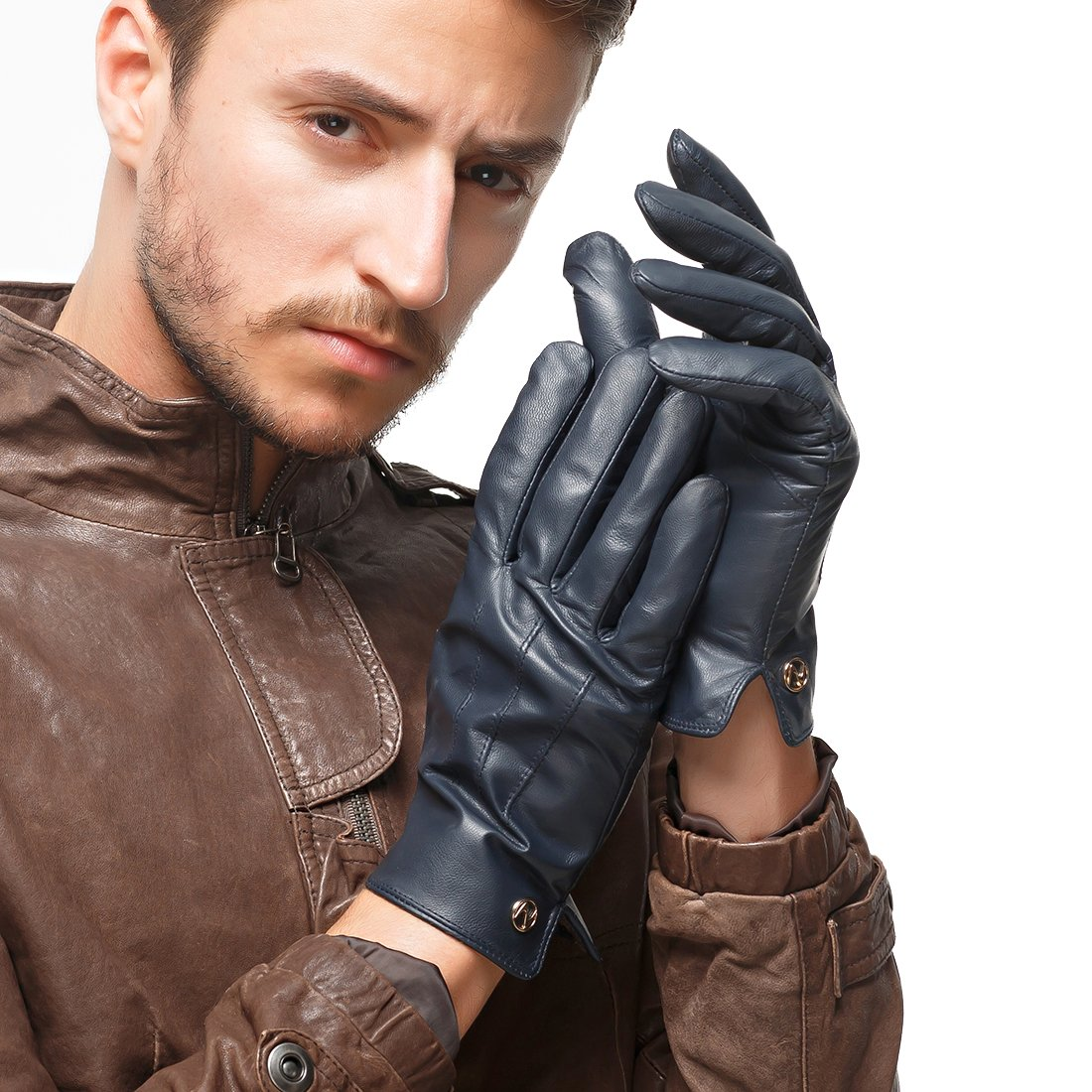 Nappaglo Men's Genuine Touchscreen Nappa Leather Gloves Driving Winter Warm Mittens (L (Palm Girth:8.5''-9''), Dark Navy Blue (Touchscreen))