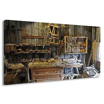 Canvas Workshop Tools Equipment Wood Workbench Poster Print B00222