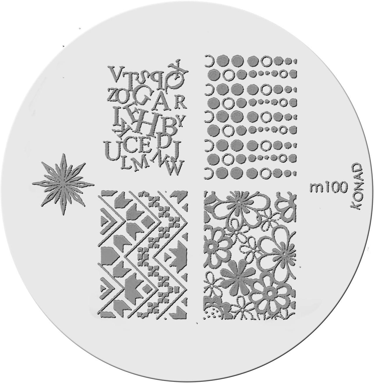 Placa de Diseños Konad Original. m100, Plantilla para uñas Konad España.: Amazon.es: Belleza