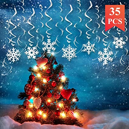 kalefo 35pcs christmas decorations snowflake decorations hanging swirl christmas ornaments winter wonderland xmas party decorations winter
