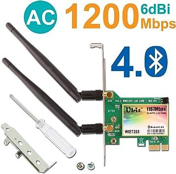 Wireless Network Card, Dual Band Wireless-AC 7265, AC1200 Wireless Wifi PCIe Card, Ubit Bluetooth 4.0 Card, 6dBi Antenna Wireless WiFi Dual Band ...