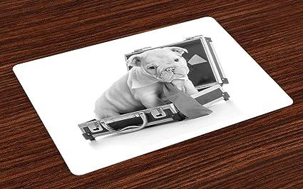 Amazon com: Ambesonne English Bulldog Place Mats Set of 4