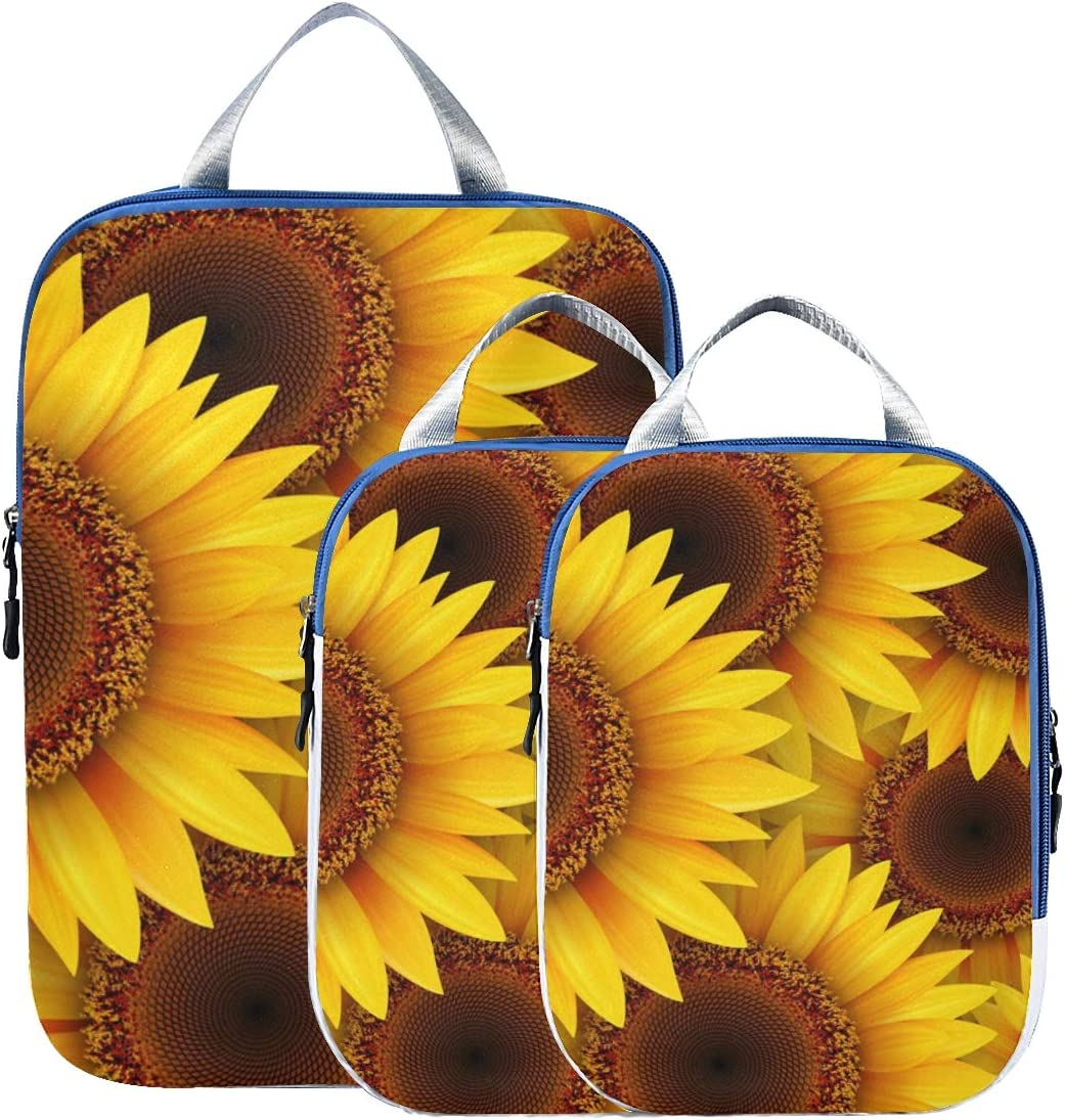 Yellow Sunflowers 3 Set Packing Cubes,2 Various Sizes Travel Luggage Packing Organizers i