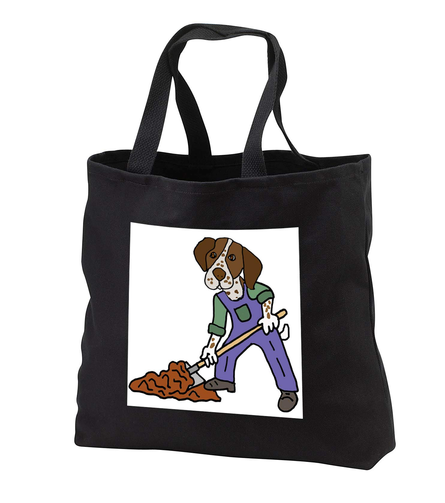 All Smiles Art - Pets - Funny German Short-haired Pointer Dog Digging with Shovel - Tote Bags - Black Tote Bag JUMBO 20w x 15h x 5d (tb_294525_3)