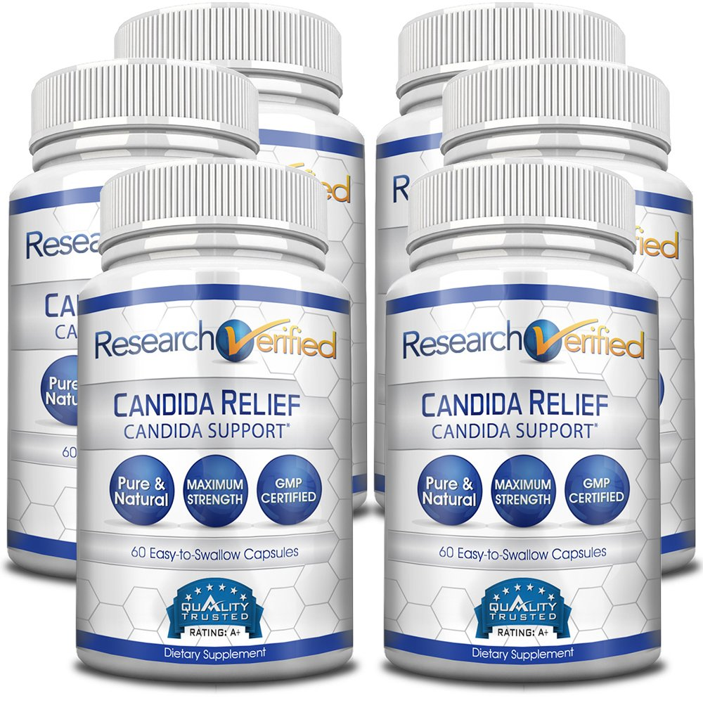 Research Verified Candida Relief - #1 Yeast Infection & Candida Supplement - 100% Natural - w/ 5 strains of probiotic healthy bacteria and Vitamin B & C - 100% Money Back - 6 Bottles (6 Months Supply) by Research Verified (Image #1)