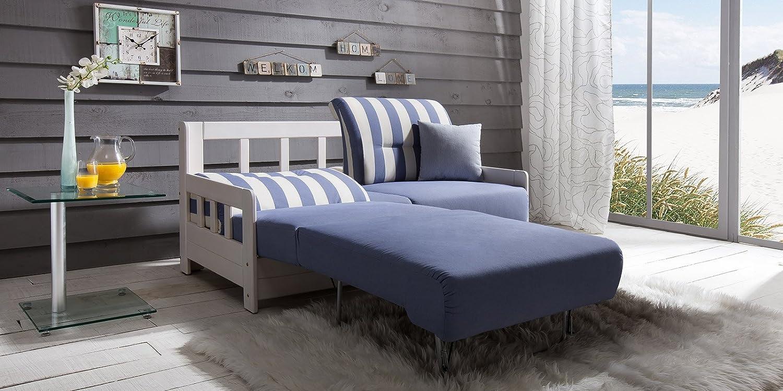 Schlafcouch Blau schlafsofa campus blau weiss stoff sofa massiv holz