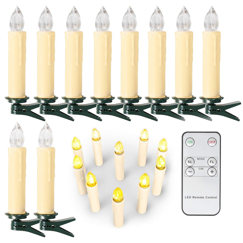 Luces de Velas Decoraci/ón de Navidad Jard/ín SunJas LED Velas de Navidad Set de 10//20//30//40 LED Velas de Navidad Velas de /Árbol de Navidad con Control Remoto Infrarrojo Luces de /Árbol de Navidad