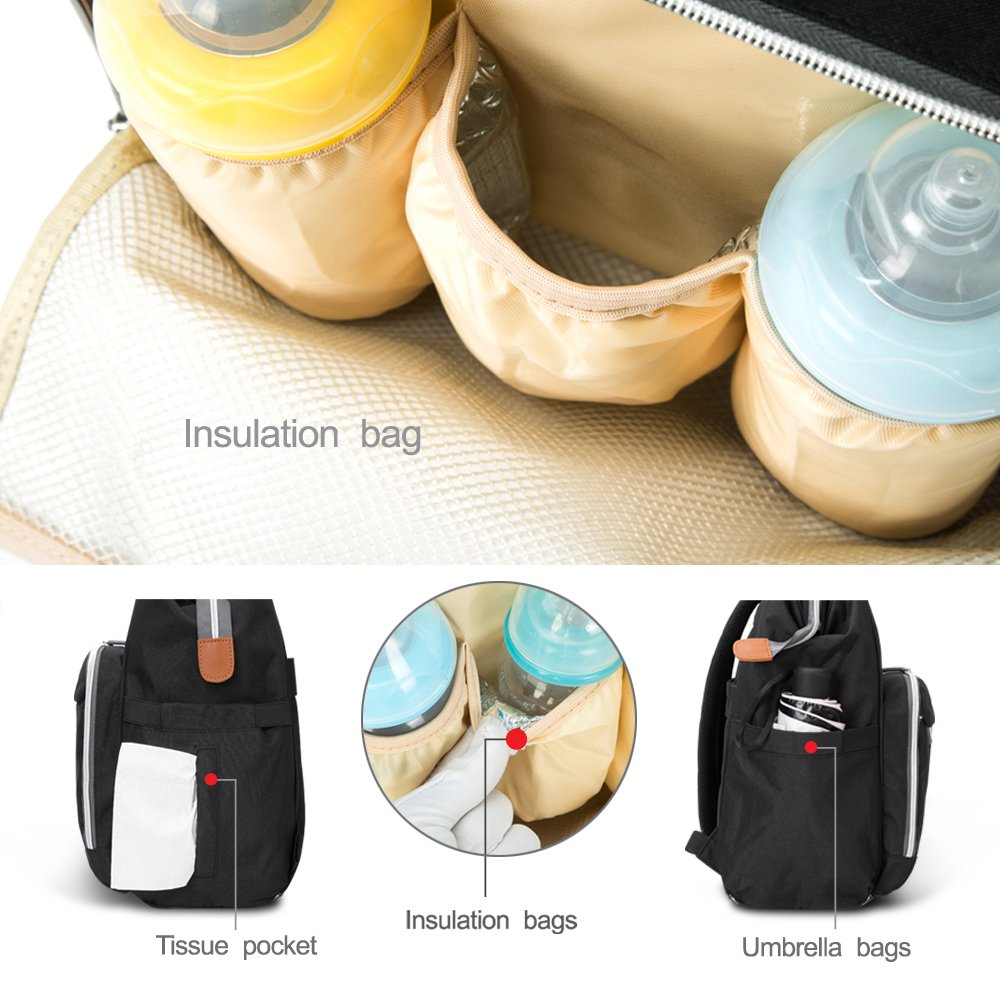 Large Capacity Multi-Function Waterproof Insulated Travel Tote Changing Nappy Bag for Mom /& Dad Gray HEYI Baby Diaper Bag Backpack with Stroller Straps
