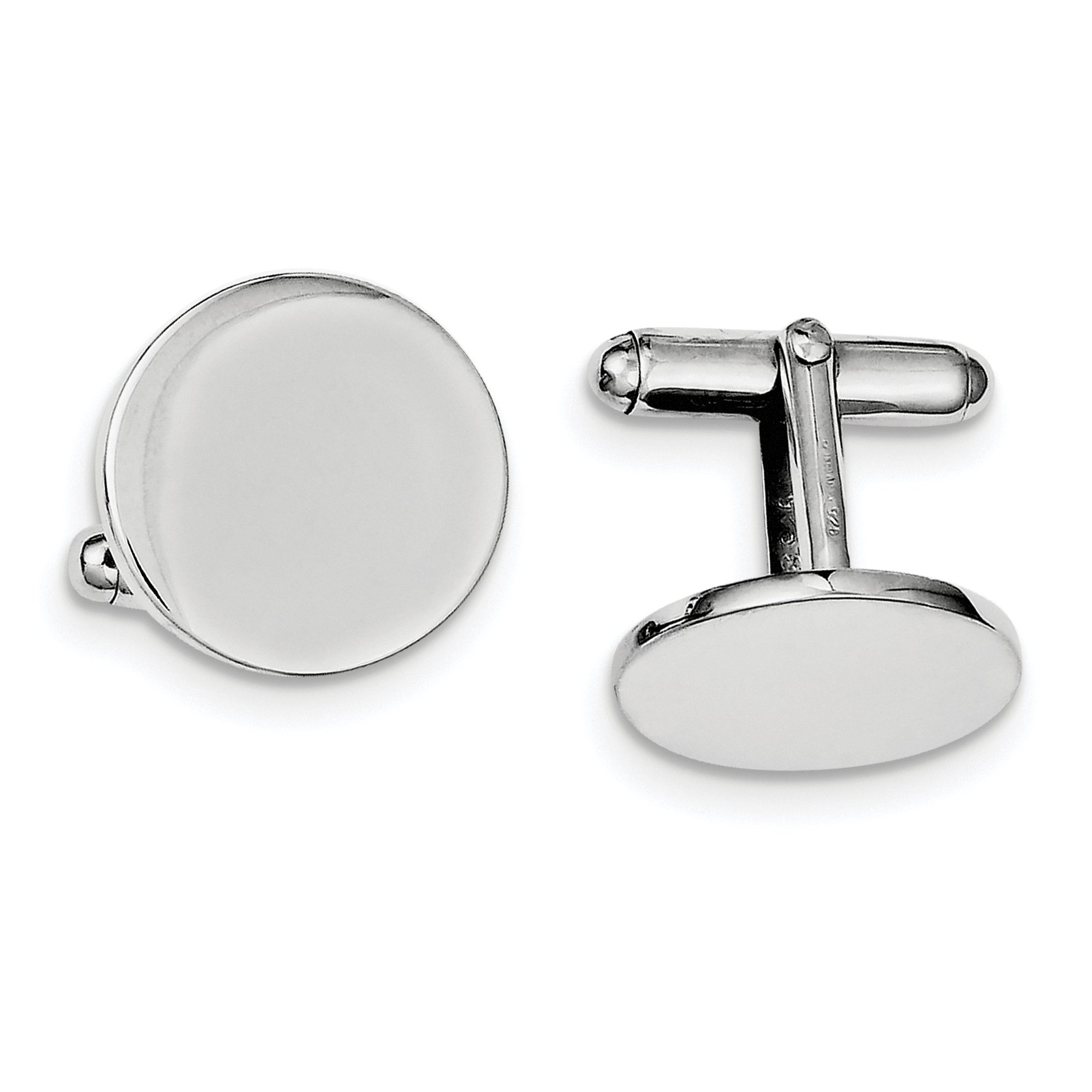 ICE CARATS 925 Sterling Silver Round Cuff Links Mens Cufflinks Man Link Fine Jewelry Dad Mens Gift by ICE CARATS (Image #1)