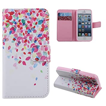 more photos 94b9f a9fe3 iPhone SE Wallet Case, iPhone 5 Case, iPhone 5S Case, PU Leather Flip  Wallet Stand Phone Case for iPhone 5/5S/SE