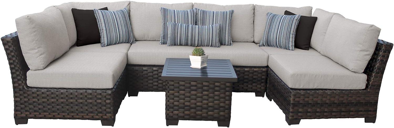 Tk Classics Kathy Ireland River Brook 7 Piece Outdoor Wicker Patio Furniture Set 07c Garden Outdoor