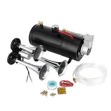 Tecmaqui Kit de Bocinas de Aire de 3 Trompetas Sistema de Aire de 150 PSI con Compresor ...