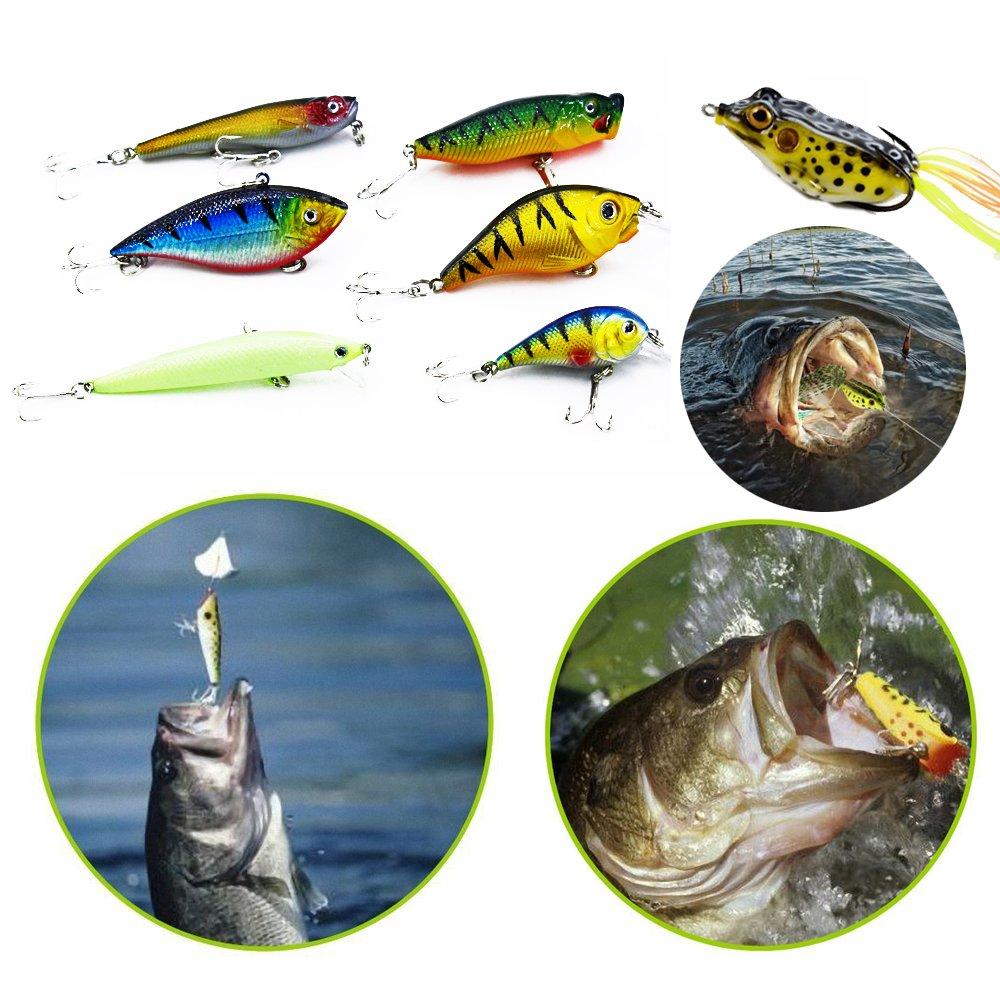 XBLACK Fishing Tackle Kit Set Minnow Crank Spoon Bait Spinner Lure Soft Grubs Shrimp Lure VIB Lure with Sharp Fishing Hooks