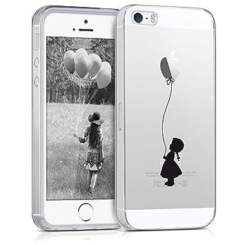 kwmobile Funda compatible con Apple iPhone SE / 5 / 5S - Carcasa de [TPU] y diseño de niña con globo en [negro / transparente]