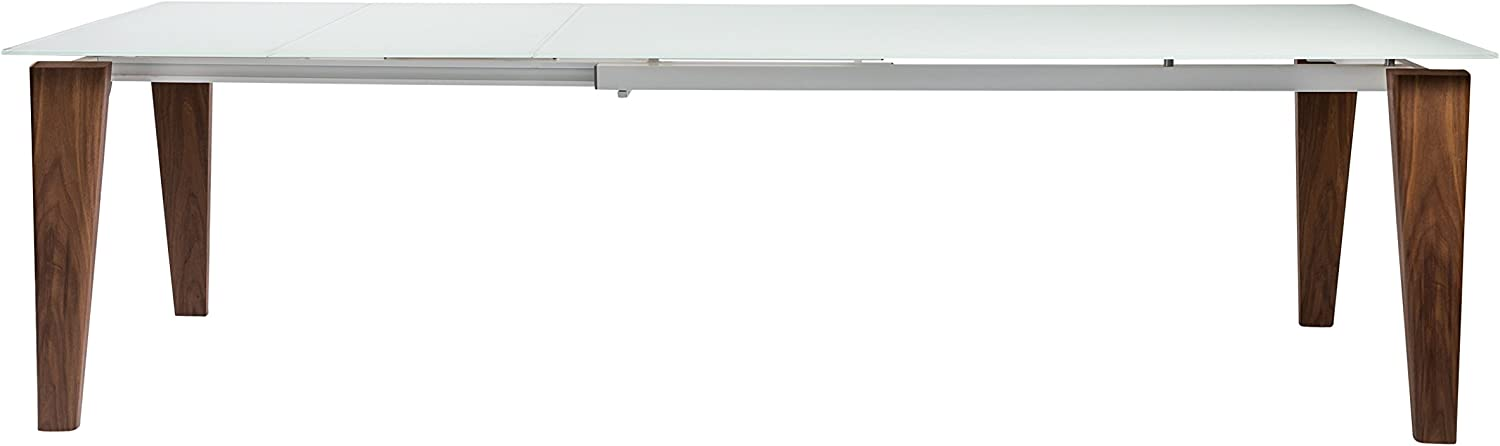 "Modern 71-111"" Conference Table or Desk with White Glass Top & Solid Wood Legs"