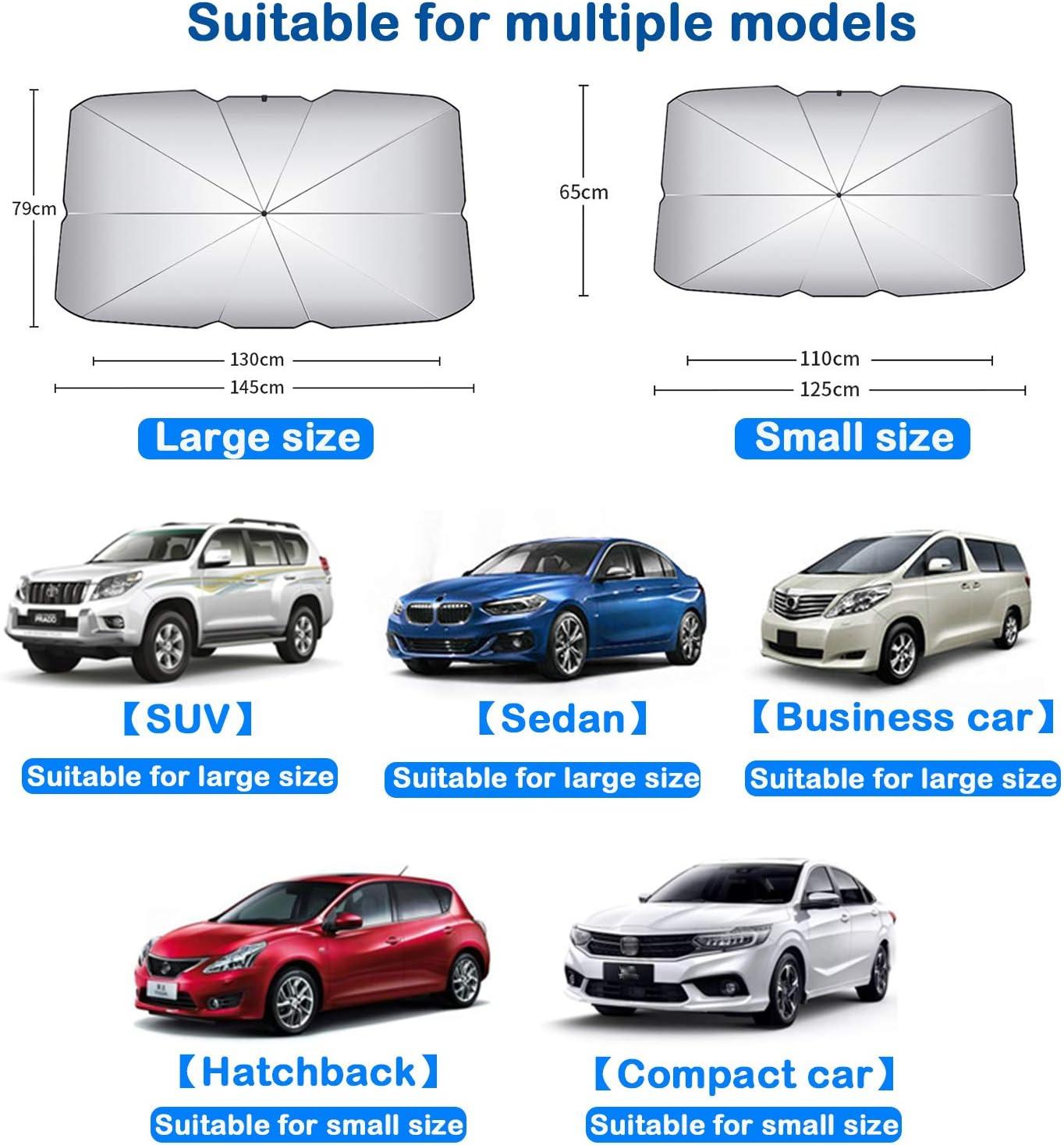 Monuary Auto Sonnenschutz Frontscheibe um Ihr Fahrzeug k/ühl zu halten Passend f/ür die meisten Fahrzeugmodelle Sperrt UV-Strahlen Faltbarer Auto-Sonnenschutz f/ür das Auto-Frontfenster 125 x 65 cm