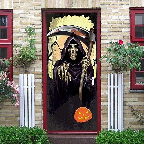 Etiqueta De La Puerta Halloween Hoz Calavera Muerte Calabaza