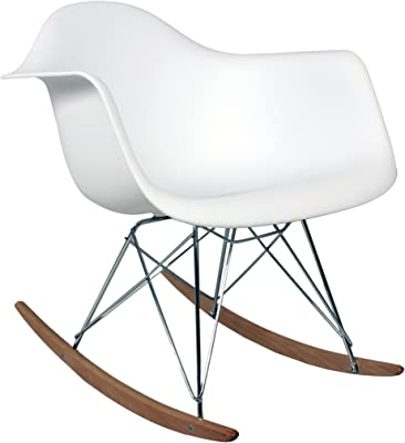 Control Brand Adult-Sized Mid-Century-Inspired Rocking Chair, White