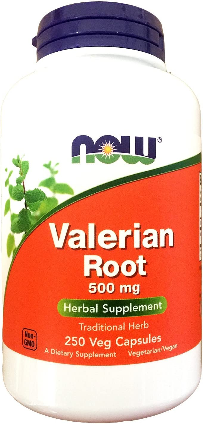 NOW Valerian Root, 500mg, 250 Capsules (Pack of 2)