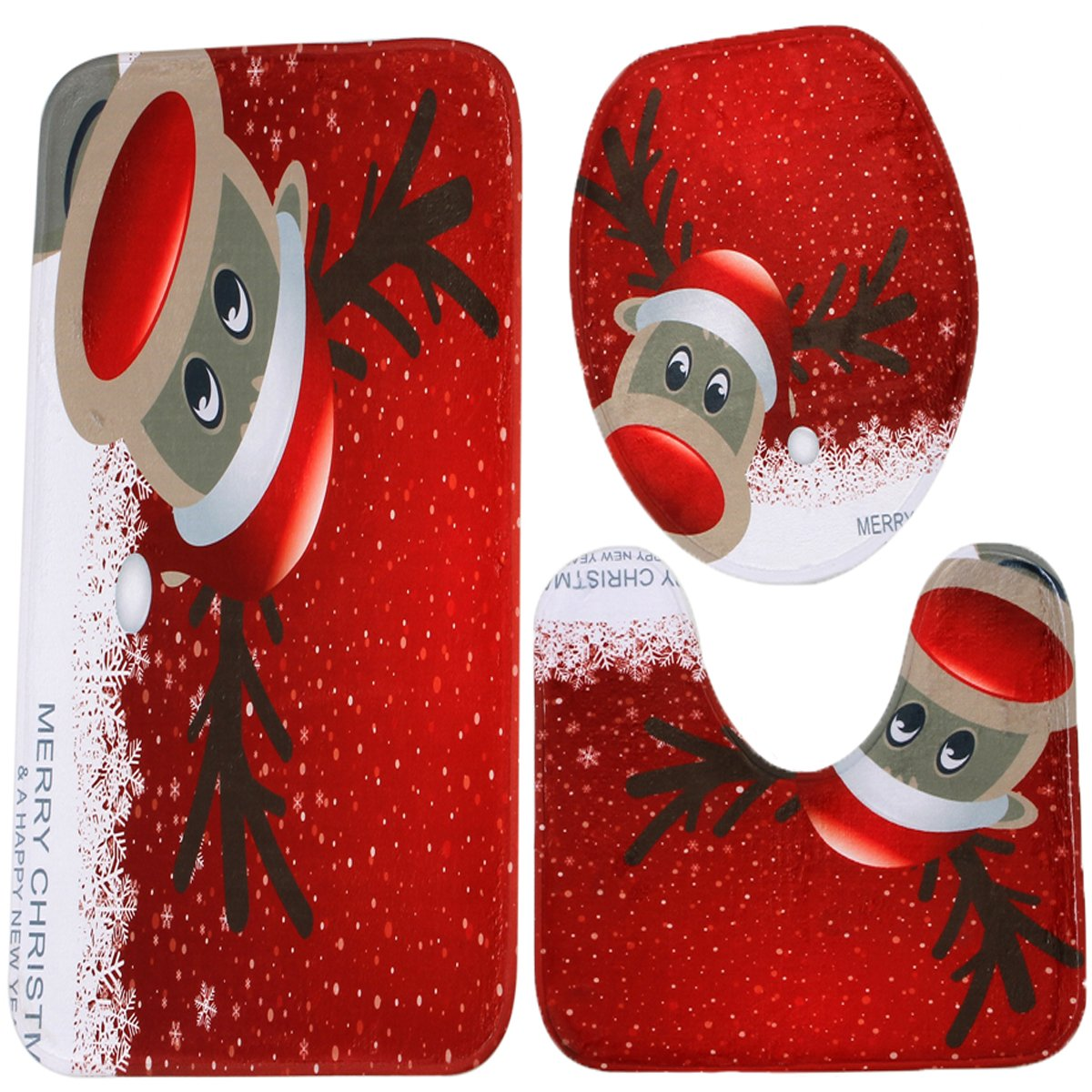 Merry Christmas Snowman Bath Mat Set, 3 Piece Bathroom Mats Set Non-Slip Bathroom Rugs/Contour Mat/Toilet Cover (Cartoon Santa Claus) Flower Tiger JJ12