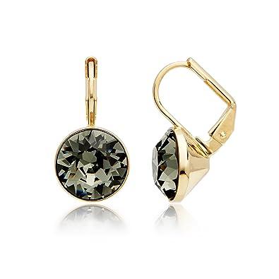 8d26dbb77e87 MYJS Bella 16k Gold Plated Mini Drop Earrings with Black Diamond Swarovski  Crystals  Amazon.co.uk  Jewellery