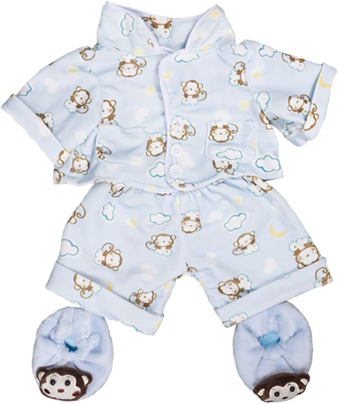 """B01MUS7367 Blue Monkey Pajamas with Slippers Teddy Bear Clothes Outfit Fits Most 8""""-10"""" Build-A-Bear, Vermont Teddy Bear, and Make 71-NjINd01L"""