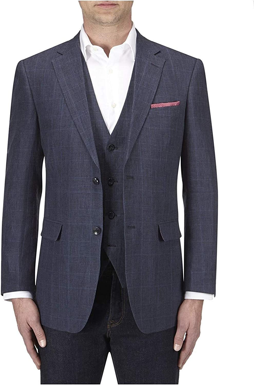 SKOPES Vigo Linen Jacket in Blue Check in Chest 44 to 62 Inches S//R//L
