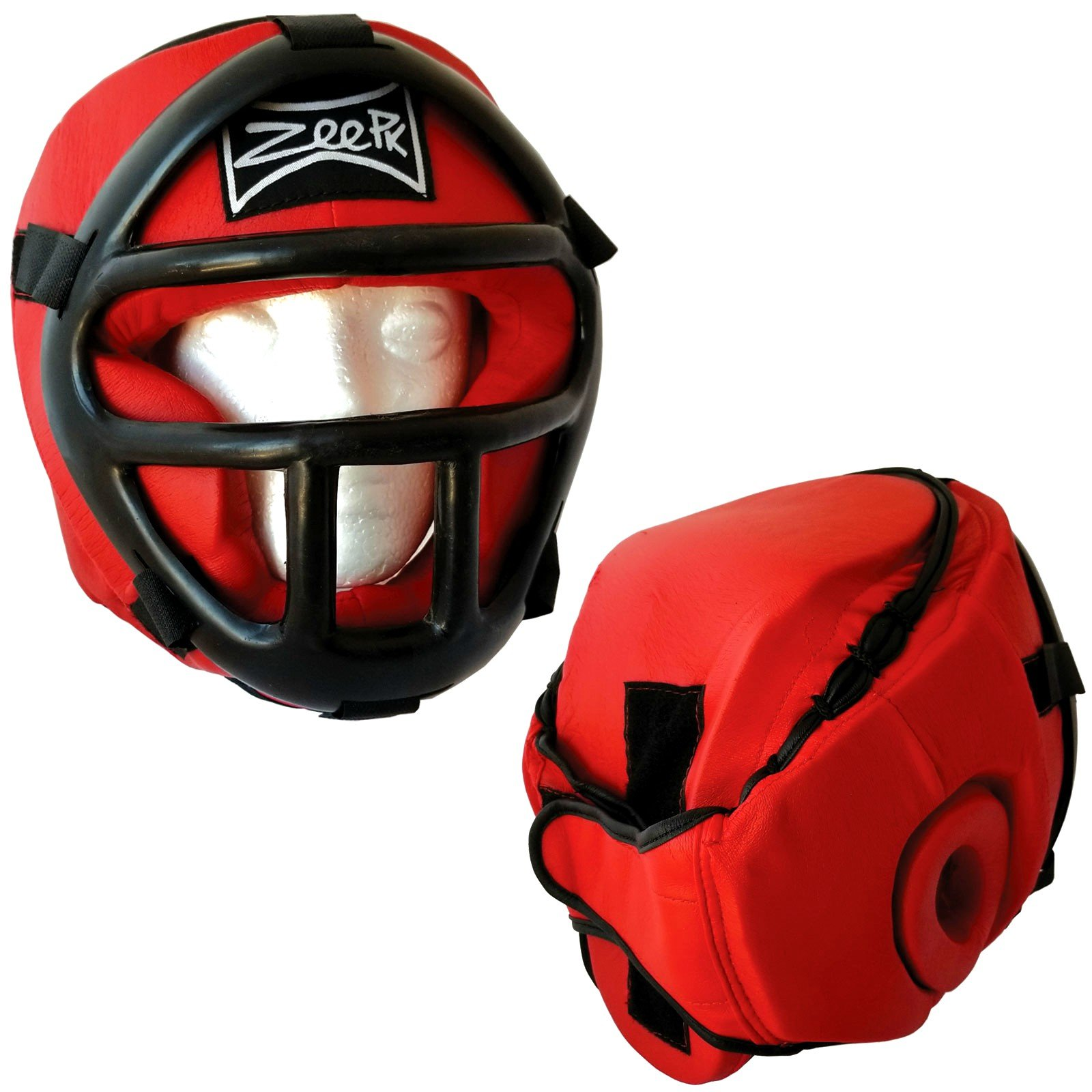 Liberty Supply Zeepk PU Leather Art MMA Boxing Protector Head Guard UFC Wrestling Helmet Gear with Face Guard Grill Red Color Size Medium