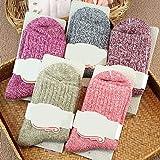 5 Pairs Women Winter Thick Warm Soft Woolen Yarn Solid Casual Sports Socks