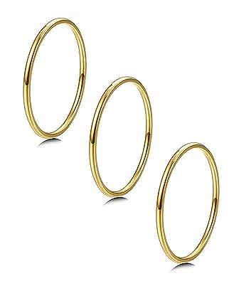 Amazon.com: LOYALLOOK - 3 anillos de acero inoxidable de ...