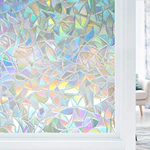 "Haton Window Privacy Film, Non-Adhesive Static Window Cling, 3D Decorative Rainbow Window Decals, Removable Window Glass Vinyl, Anti-UV Window Sticker Cover Heat Control for Home Office, 35.4""x118.1"""