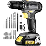TOPELEK 20V Cordless Drill 1500 Lithium-ion Battery Drill Driver, Drill Kit with 27pcs Accessories, LED, 2-speeds, 18+1…