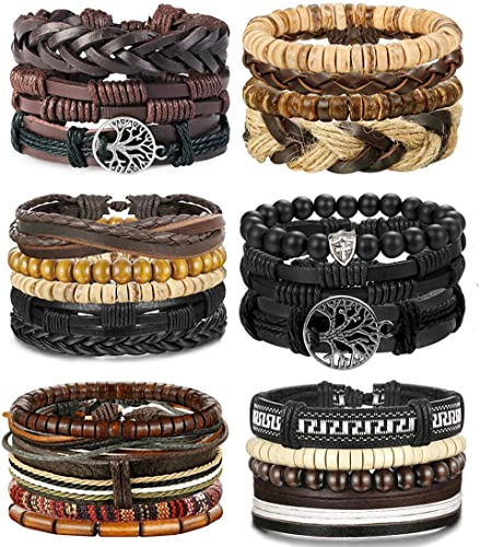 Retro Double Layer Leather Bracelet Wide Cuff Wristband Bangle Men Women Jewelry
