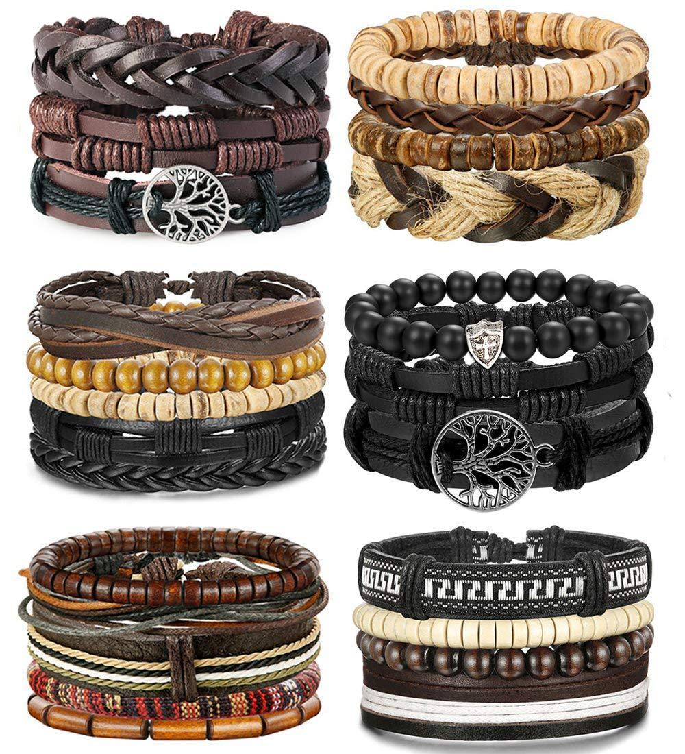 24 Pcs Woven Leather Bracelet for Men Women Cool Leather Wrist Cuff Bracelets Adjustable