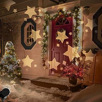 Led Weihnachtsbeleuchtung Strahler.Led Projektionslampe Weihnachten Innen Sterne Muster Warmweiß Led Projektor Lampe Kinder Sternenhimmel Strahler Weihnachtsbeleuchtung Außen Ip44