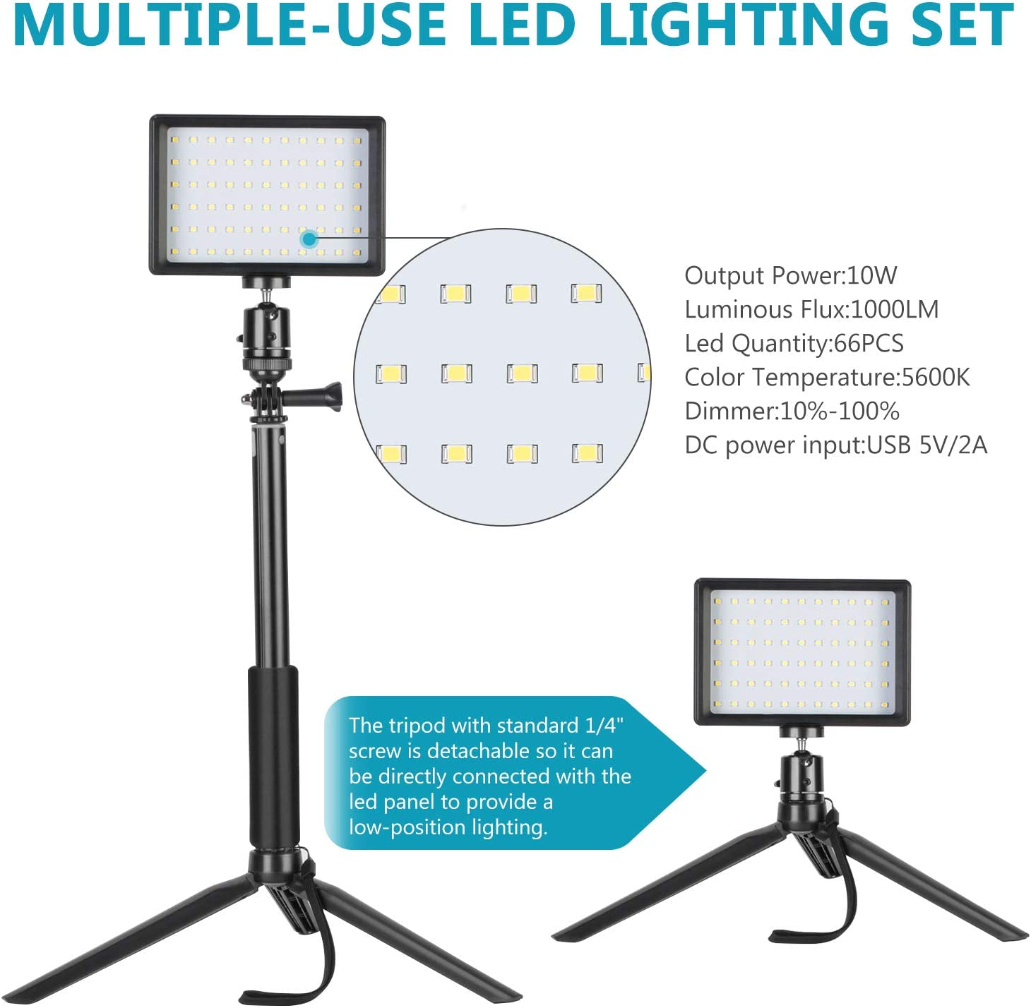 Neewer 3-Pack Portable Photography Lighting Kit Dimmable 5600K USB 66 LED Video Light with Adjustable Tripod Stand//Color Filters for Table Top//Low Angle Product Shooting YouTube Video Recording