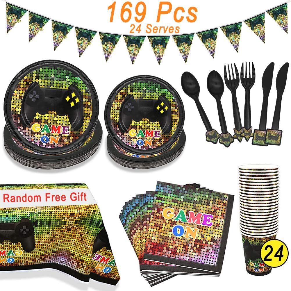 Video Game Party Supplies, Angela&Alex 169 Pcs 24 Guests Gaming of Themed Party Birthday Banner Round Plates Cups Napkins Dessert Plate Forks Knives Spoons On Supplies Decor(Random free tablecloth) by Angela&Alex