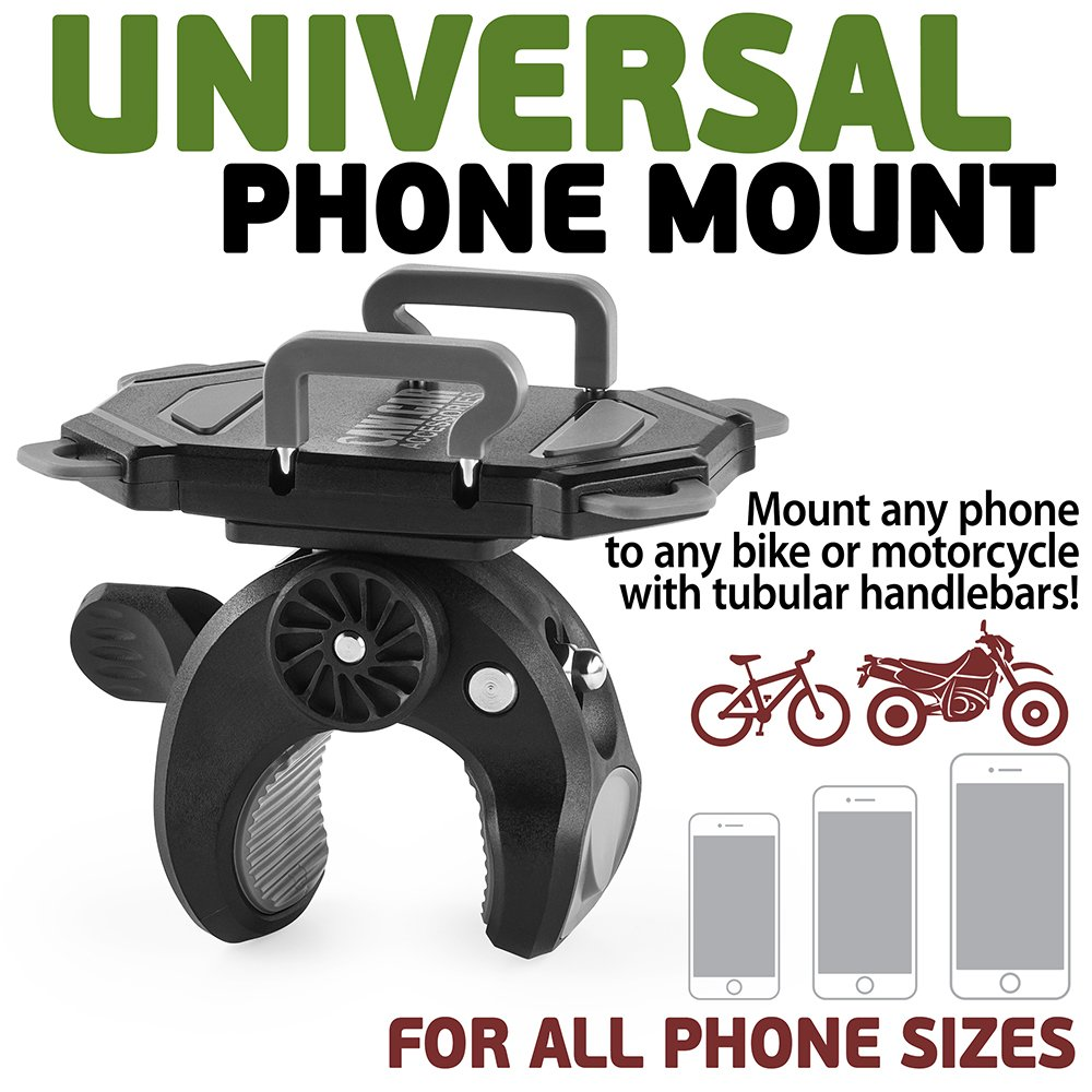 Bike & Motorcycle Phone Mount - For iPhone 8 (X, 7, 5, 6 Plus), Samsung Galaxy or any Cell Phone - Universal Handlebar Holder for ATV, Bicycle and Motorbike. +100 to Safeness & Comfort by CAW.CAR Accessories (Image #2)